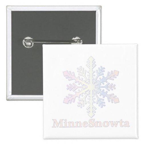 MinneSnowta with Snowflake Pinback Button
