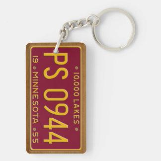 Minnesota 1955 Vintage License Plate Keychain Rectangular Acrylic Key Chain