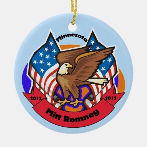 Minnesota 2012 para Mitt Romney Adorno Navideño Redondo De Cerámica