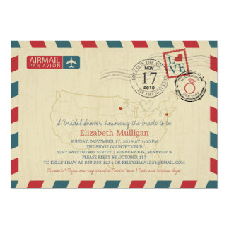 Minnesota and New York Airmail | Bridal Shower Card
