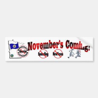Minnesota Anti ObamaCare – November's Coming! Bumper Sticker