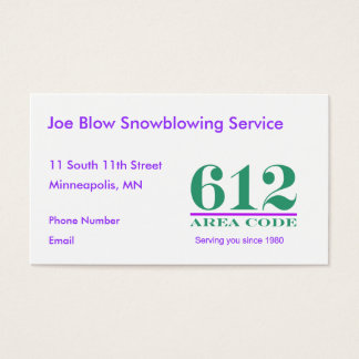 Minnesota Area Codes Business Card