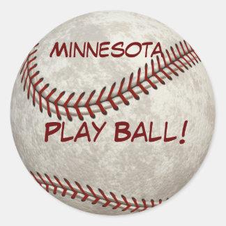 Minnesota Baseball  Play Ball! American Past-time Classic Round Sticker