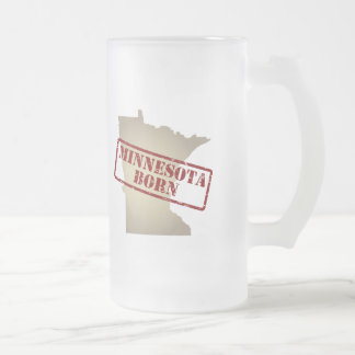 Minnesota Born - Stamp on Map Frosted Glass Beer Mug