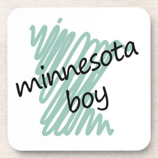 Minnesota Boy on Child's Minnesota Map Drawing Coaster