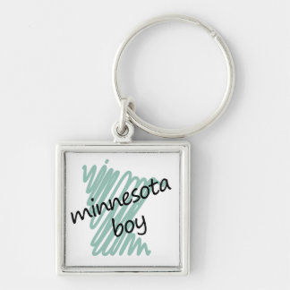 Minnesota Boy on Child's Minnesota Map Drawing Keychain