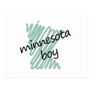 Minnesota Boy on Child's Minnesota Map Drawing Postcard