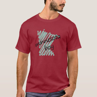 Minnesota Boy on Child's Minnesota Map Drawing T-Shirt