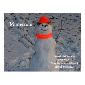"Minnesota ""Build a Snowman"" Post Card"