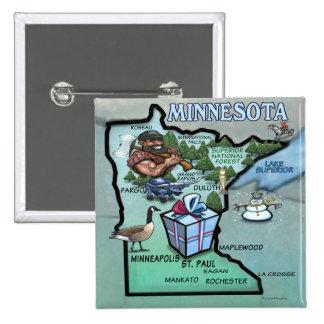 Minnesota Cartoon Map 2 Inch Square Button