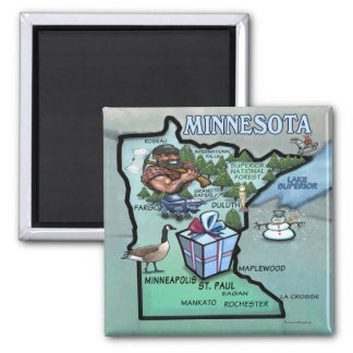 Minnesota Cartoon Map 2 Inch Square Magnet