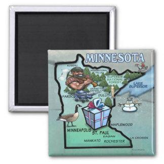Minnesota Cartoon Map Magnets
