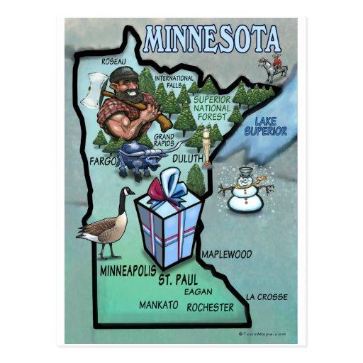 Minnesota Cartoon Map Post Cards