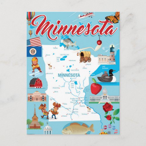 Minnesota Cartoon Map Postcard