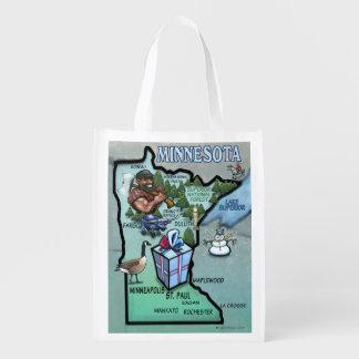 Minnesota Cartoon Map Reusable Grocery Bag
