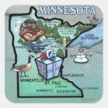 Minnesota Cartoon Map Square Stickers