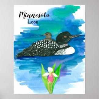Minnesota Common Loon Baby Bird Water Poster