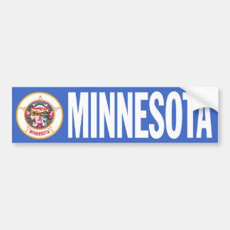 Minnesota con la bandera del estado etiqueta de parachoque