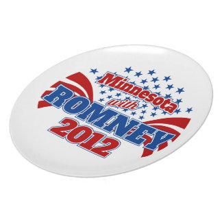 Minnesota con Romney 2012 Platos Para Fiestas