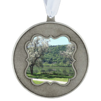 Minnesota Country Scalloped Pewter Ornament