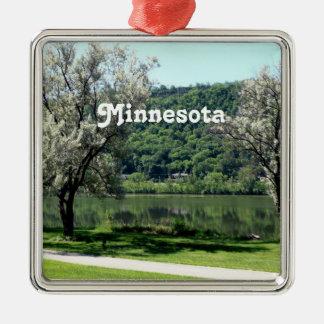 Minnesota Country Silver-Colored Square Ornament