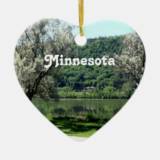 Minnesota Country Ceramic Heart Ornament