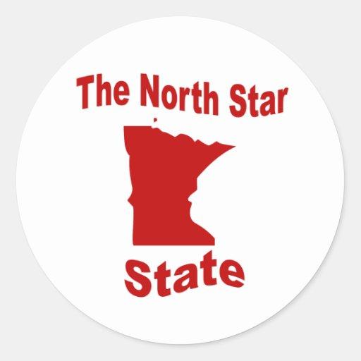 Minnesota: El estado de la estrella del norte Pegatina Redonda