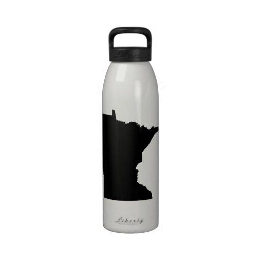 Minnesota en blanco y negro botella de agua