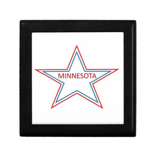 Minnesota en una estrella joyero cuadrado pequeño