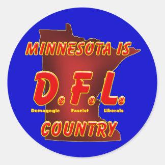 Minnesota es D.F.L. Country Pegatina Redonda
