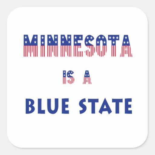 Minnesota es un estado azul pegatina cuadrada
