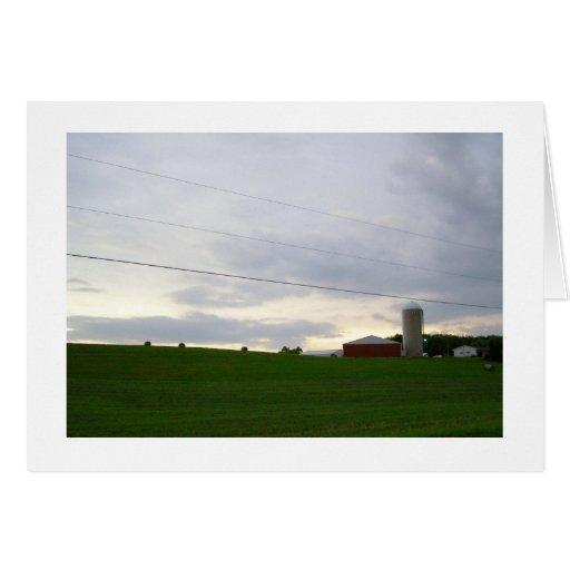 Minnesota farm at dusk hay bales big sky photo cards
