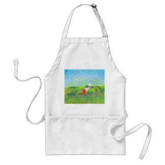 Minnesota farm red barn rural landscape crayon art adult apron