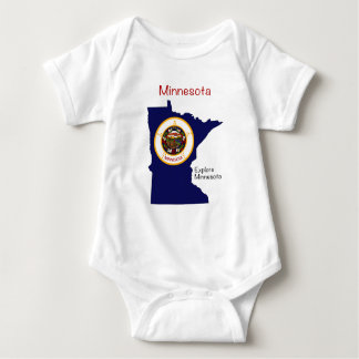 Minnesota Flag and Map Baby Bodysuit