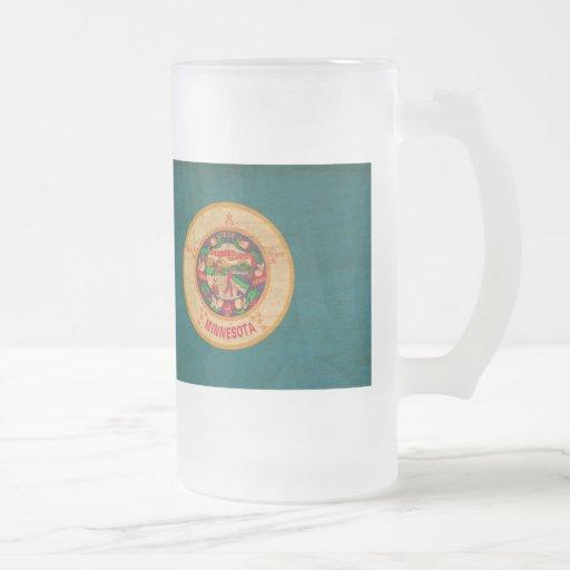 Minnesota Flag Frosted Glass Beer Mug