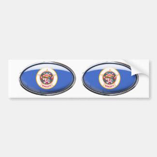 Minnesota Flag Glass Oval Bumper Sticker