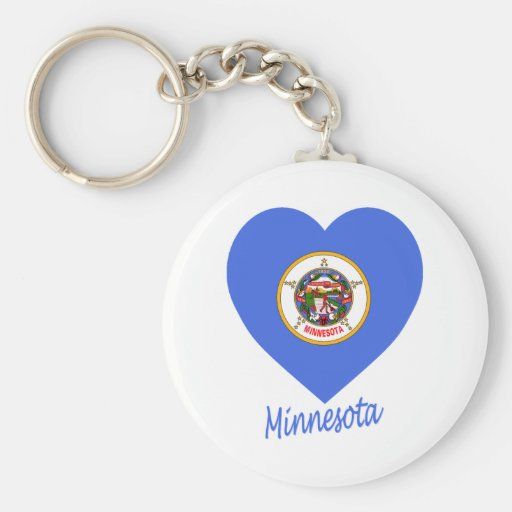 Minnesota Flag Heart Basic Round Button Keychain