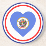 Minnesota Flag Heart Beverage Coaster