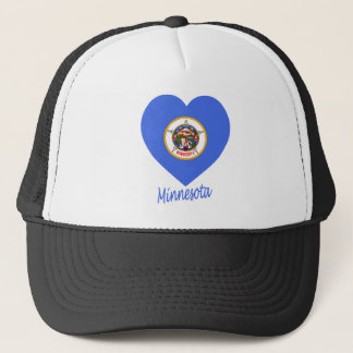 Minnesota Flag Heart Trucker Hat