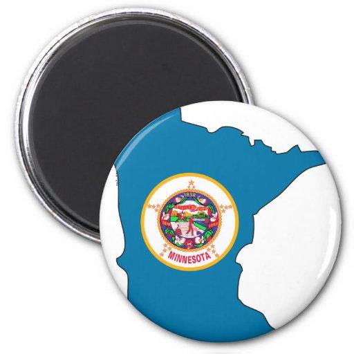 Minnesota Flag Map 2 Inch Round Magnet