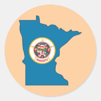 Minnesota Flag Map Classic Round Sticker