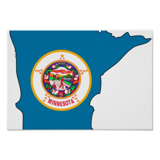 Minnesota Flag Map Posters
