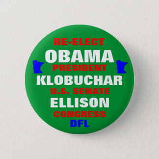 Minnesota for Obama Klobuchar Ellison Pinback Button