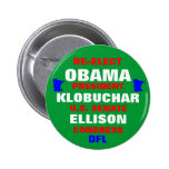 Minnesota for Obama Klobuchar Ellison Pinback Button