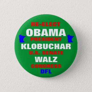 Minnesota for Obama Klobuchar Walz Pinback Button