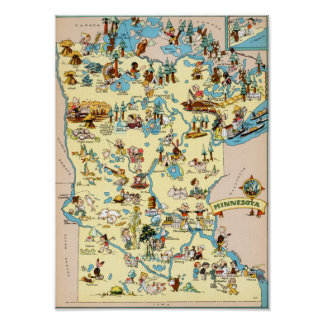 Minnesota Funny Vintage Map Print