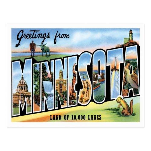 Minnesota Greetings From US States Postcard