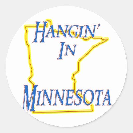 Minnesota - Hangin Pegatina Redonda