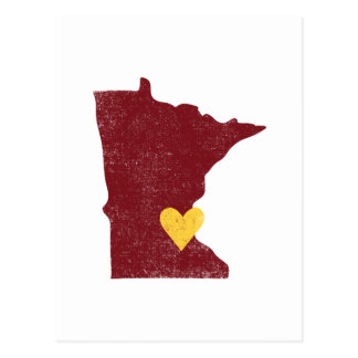 Minnesota Heart postcard (maroon) - Customizable!