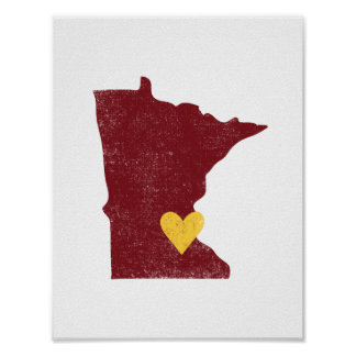 Minnesota Heart poster (maroon) - Customizable!